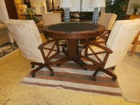 Price: $749.99 Item #: 137381 A Relaxed And Stylish Game Table With A  Mahogany Stained Pedestal Base, The Table Top Is Felt With Cupholders  Perfect For ...