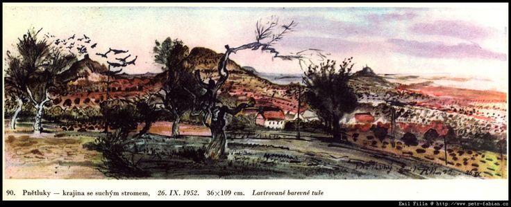Pnětluky - Krajina se suchým stromem, 1952