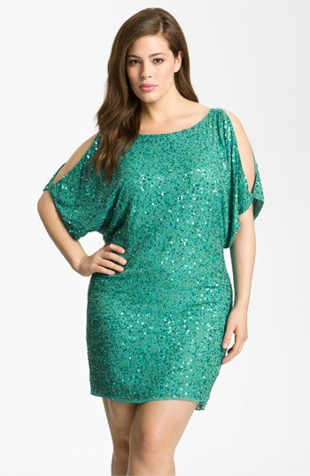 Aidan Mattox Sequin Cold Shoulder Dress (Plus) available at #Nordstrom