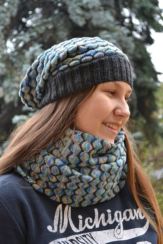 Knitted  Hat & Scarf loop blue and gray beanie scarf Set Slouchy Hat and Infinity Scarf Cowl Scarf Fall Fashion Winter