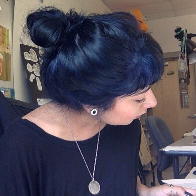 Gorgeous navy blue hair from redditor /u/wulffenstein in /r/fancyfollicles