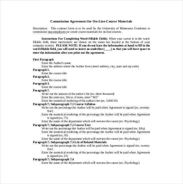 Commission Agreement Templates Word Excel Fomats Contract