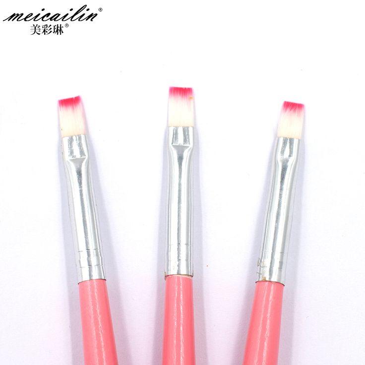 Specjaliści 1 Sztuk Nail Brush Pen Akryl Żel UV Nails Art Ołówek Płaskim Malarstwo Rysunek French Manicure Narzędzia Paznokci Szczotki ołówek