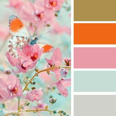 gold orange pink mint white