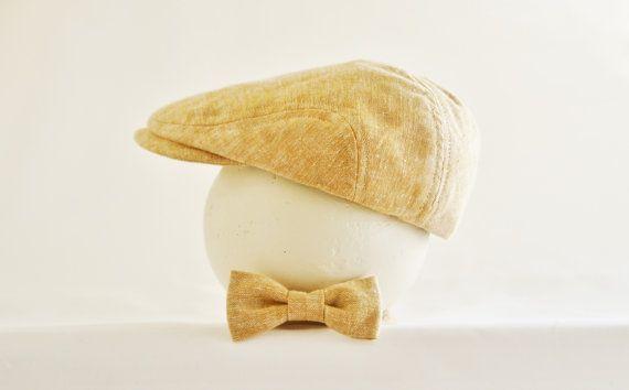 Tan linen newsboy hat and bow tie set baby newsboy by DakkoBabySC, $50.00