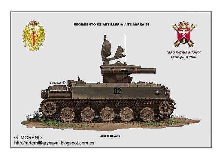 #ilustracion de un #vehiculo #militar AMX-30 lanzamisiles Roland del #Ejército de #España