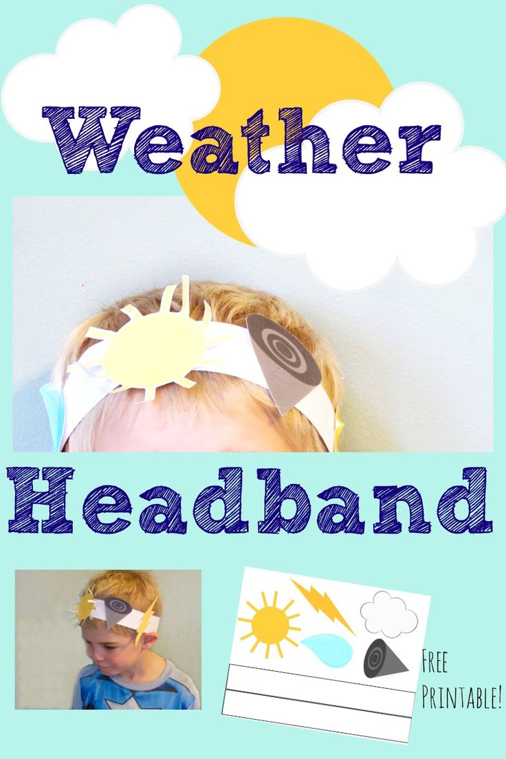 This free Printable Weather Headband is the perfect craft to add to a preschool weather theme week.