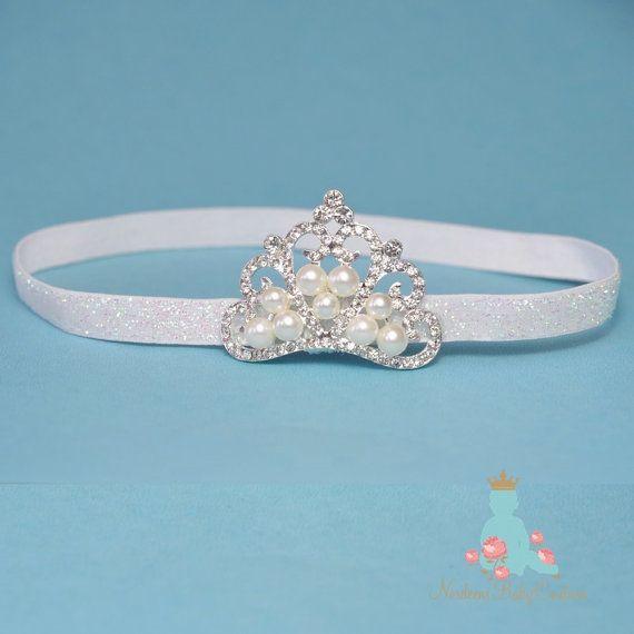 Baby Glitter Elastic headband, Tiara headband, Crown headband, baby tiara , Princess