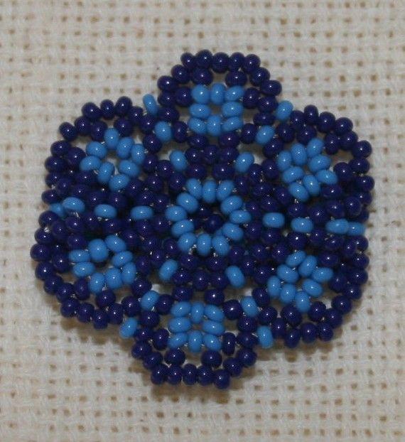 Blue Flower Chaquira Ring