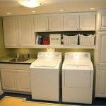 I like this. Could use salvage cabinets we have to go above laundry sink while my appliances are on opposite wall. would be nice to have clothes rod or coat hook below shelving