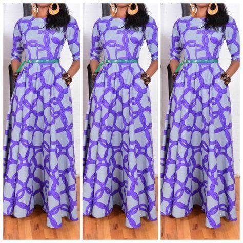 Maxi robe en tissu africain / full Farcy Robe maxi par AlmaCloset