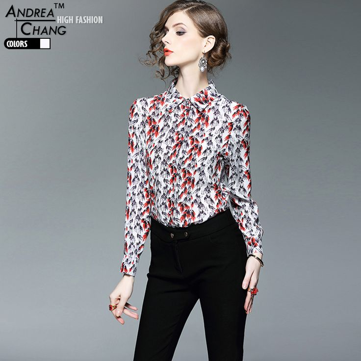 spring summer high quality womans shirt white silk shirt black red floral leaf pattern print fashion designer brand silk shirt