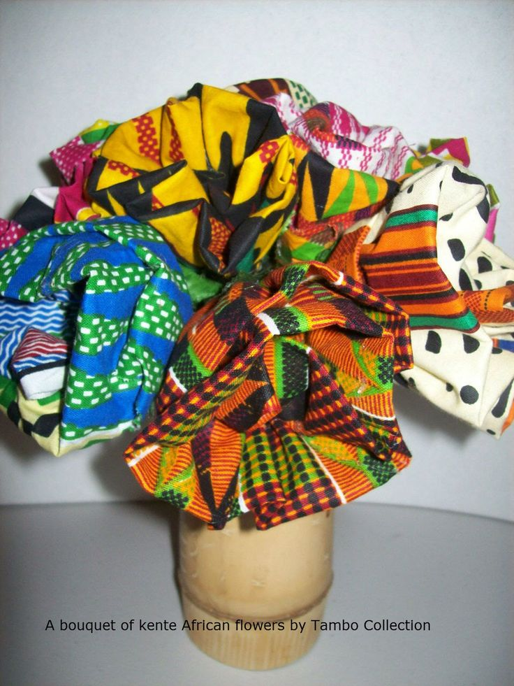 African fabric flowers, kente fabric flowers, African ...
