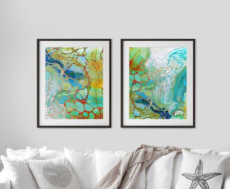 Printable art, set of two coastal art prints, abstract wall art.