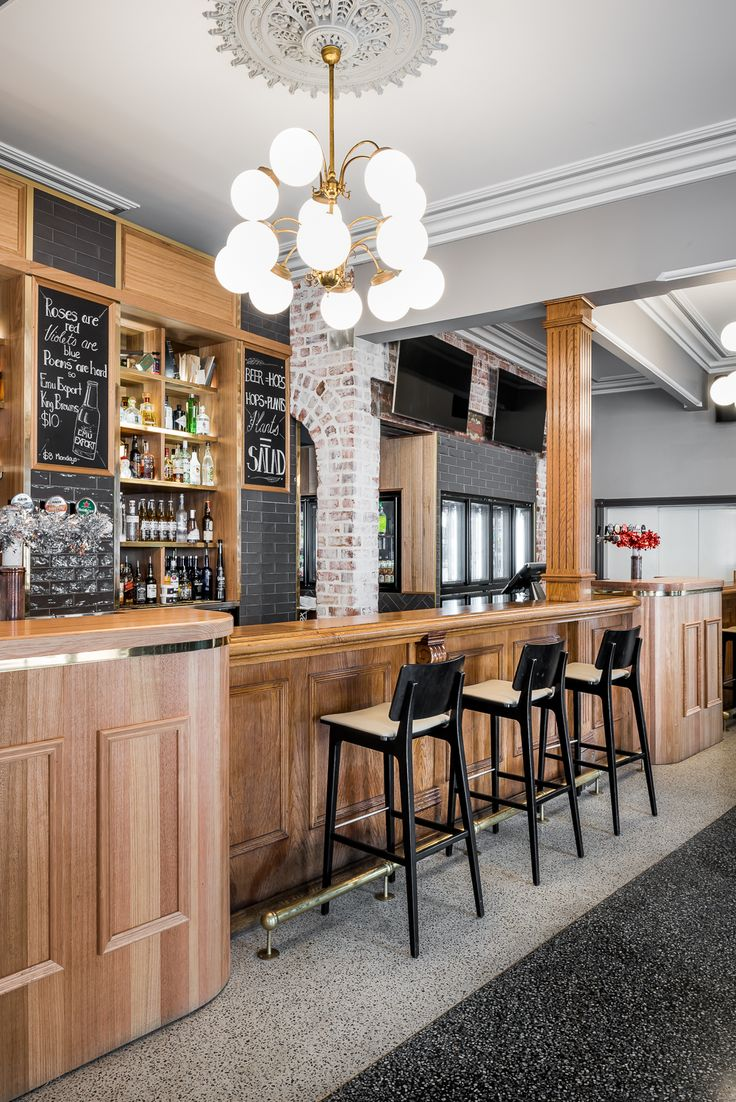 Hospitality Design by Benson Studio. Front bar design with heritage features at the Historic Rose Hotel in Western Australia. Creates warm welcoming atmosphere