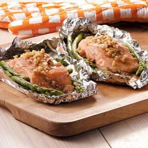 Honey-Dijon Salmon and Asparagus    I will fix that at home and when we RVing. Love Salmon and Asparagus.