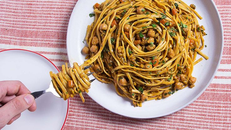 Make a Moroccan chickpea stew, then turn it into the ultimate one-pot pasta meal. The stew can be made the day before or even frozen for a future meal.