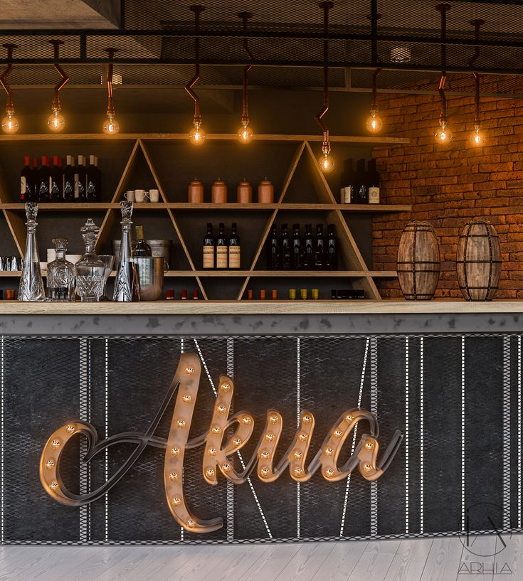 Pub design ❤️ @arhia_architecture design lovers greenwall restaurant design  industrial bar lighting 3d letters