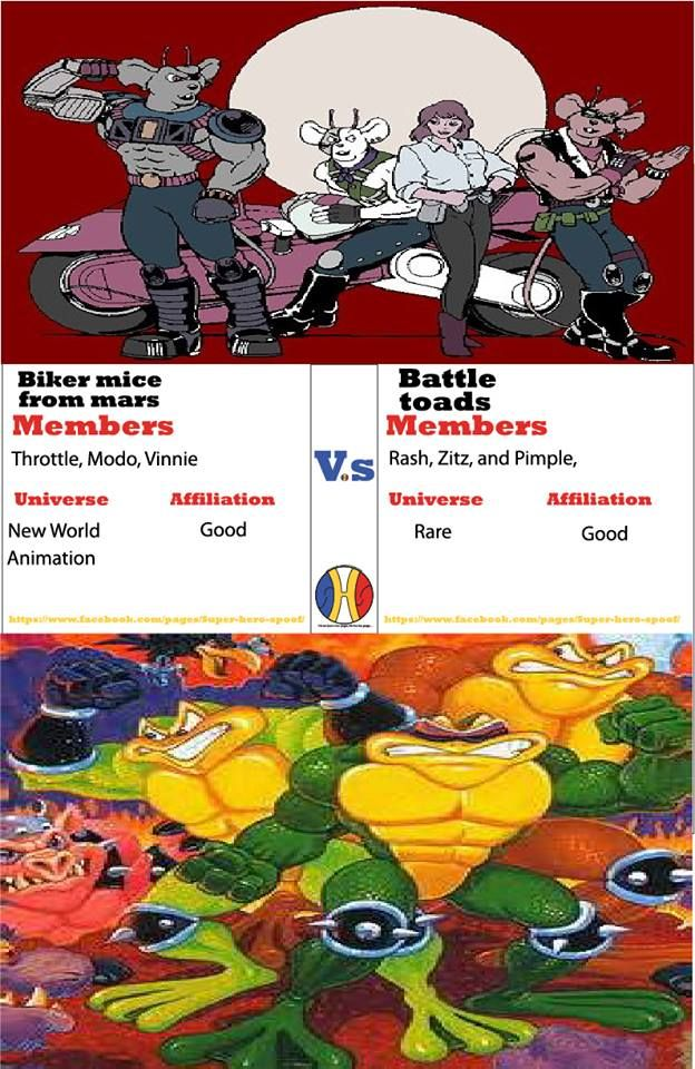 In this battle of trios, only the coolest will survive. #BattleToads vs #BikerMicefromMars. Who will win and why? Powers and abilities are posted... #superherospoof