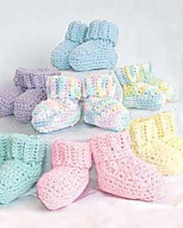 Free Crochet Pattern:  Bibs  Booties (Booties): Crochet by Bernat Design Studio