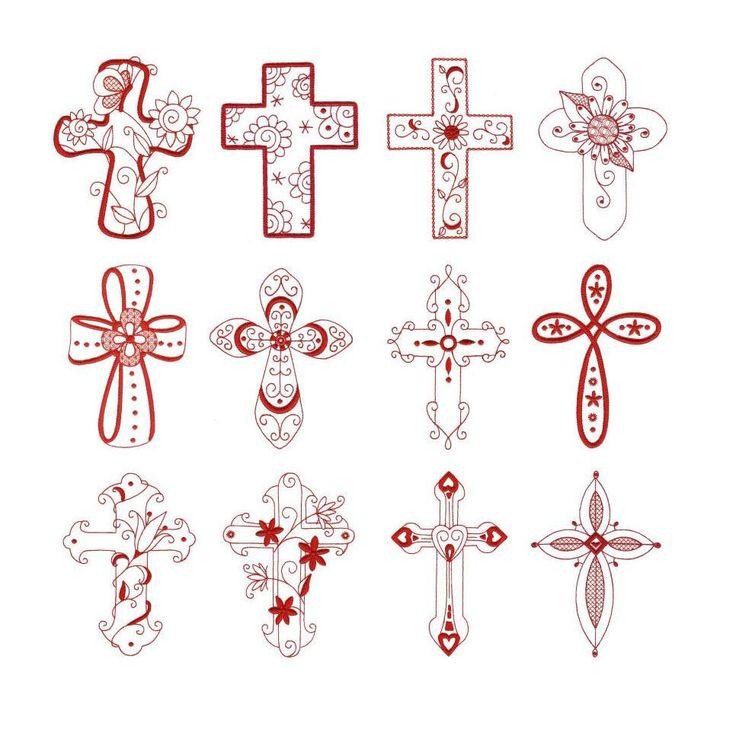 Crosses Crucifix Redwork Machine Embroidery Designs | Designs by JuJu