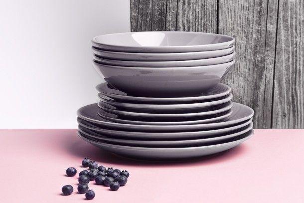 LUPIN Zestaw obiadowy, 4 os. (12el.) w stylu nowoczesnym - kolor szary