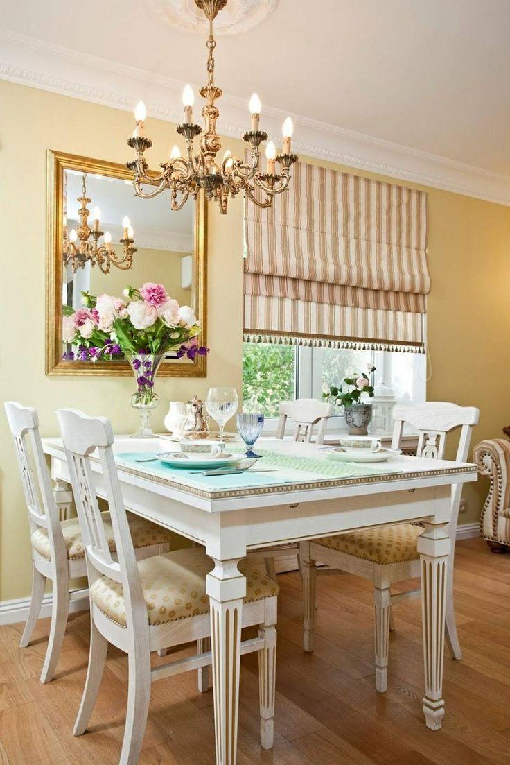 Римская штора на классической кухне
