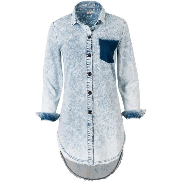 ililily Women Vintage Ice Wash Denim Shirt Distressed Frayed Hemline... ($29) ❤ liked on Polyvore featuring dresses, shirts, ripped dress, blue denim dress, vintage denim dress, long blue dress and torn dress