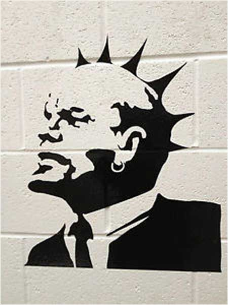 Banksy Lenin Mohican Punk Graffiti - Weston-Super-Mare, Somerset