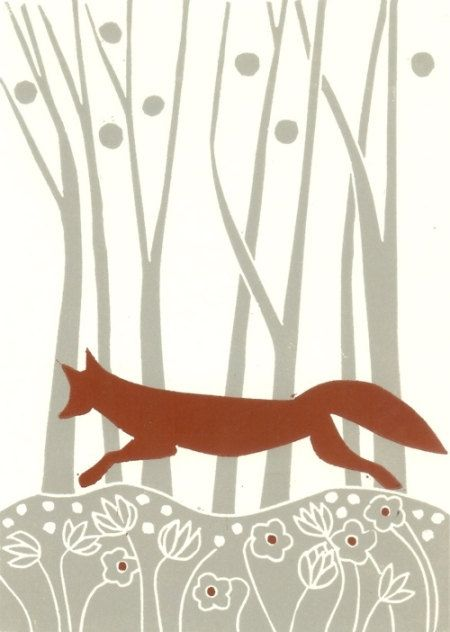 Red Fox Linocut Print - Woodland Original Lino Block Print,Burnt Orange and Gray, Modern ,Signed.
