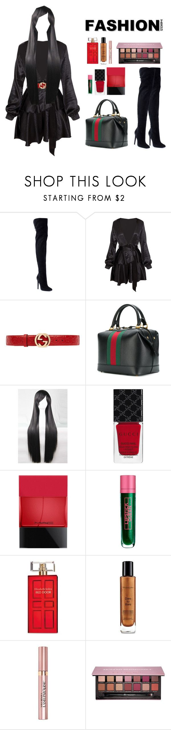 """""""#52 ~ Gucci girl"""" by tashgirl ❤ liked on Polyvore featuring Giuseppe Zanotti, Gucci, WithChic, MAC Cosmetics, Lipstick Queen, Elizabeth Arden, L'Oréal Paris and Anastasia Beverly Hills"""
