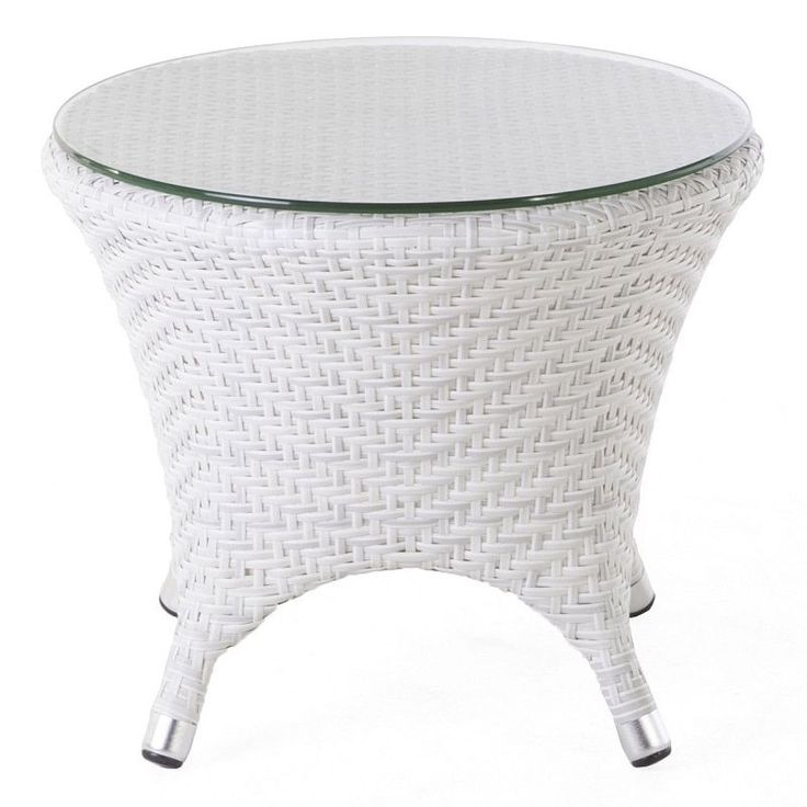 Hans Andersen Home Danica Outdoor End Table W/ Clear Glass Top (Danica Outdoor  End Table W/Clear Glass Top), White, Patio Furniture (Aluminum)