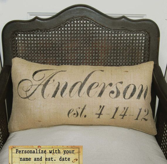 Personalized Name and Est Date Pillow   Burlap by nextdoortoheaven, $40.00