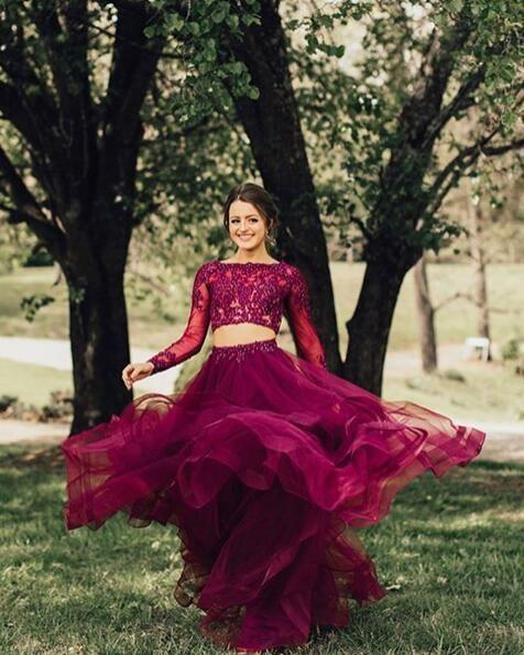 Elegantes langärmliges formelles Ballkleid mit Applikationen, zweiteilige Abendkleider in lila A-Linie