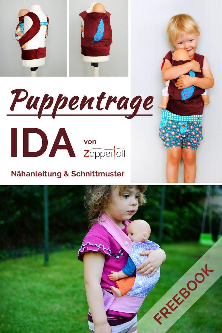 Kostenlose Nähanleitung Puppentrage Mit der Puppentrage Ida können Jungen und Mädchen ihr Puppenkind ganz bequem bei sich tragen und trotzdem die Hände frei haben. Die Trage ist für Puppen und Stofftiere mit einer Rückenhöhe...