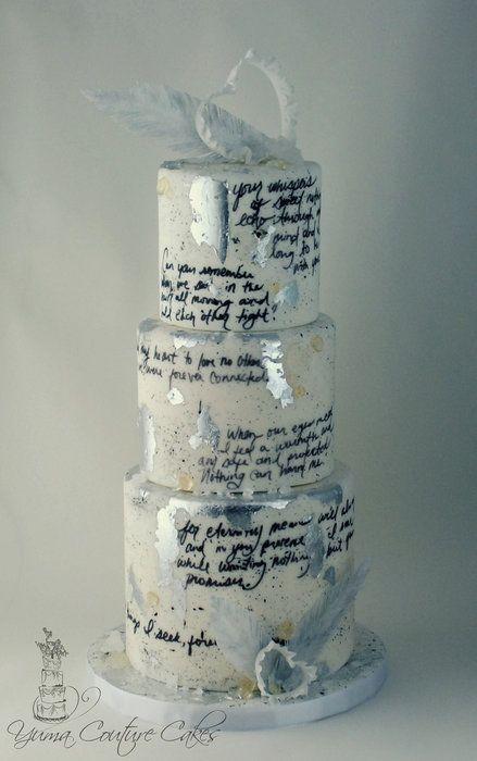 unique wedding cake with handwritten message