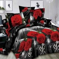 Wish | 2/3/4pcs 3D Rose and Diamond Ring Print Cotton Reactive Wedding Bedding Set King Size Duvet Covers Comforter Bed Linen Sets
