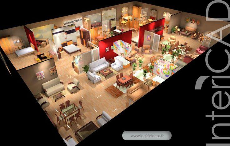 Plan 3D d'un Showroom réalisé avec InteriCAD. Logiciel: www.logicieldeco.fr