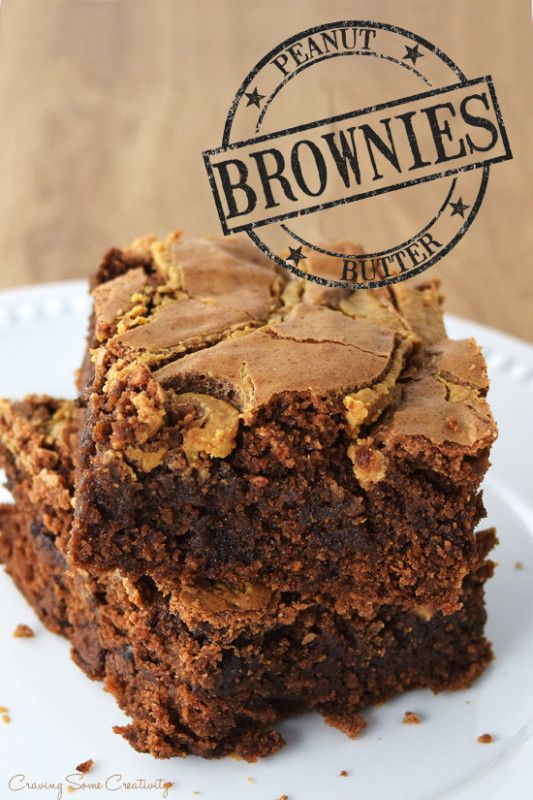Peanut Butter Brownies Recipe -Classic Fudgy Brownies with a marbled ribbon of all natural peanut butter.