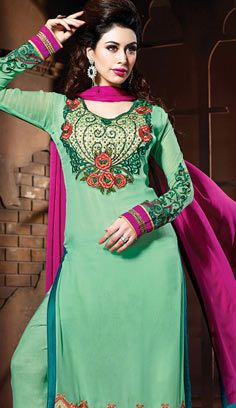 Beautiful Indian Light Green Georgette A Line Suit