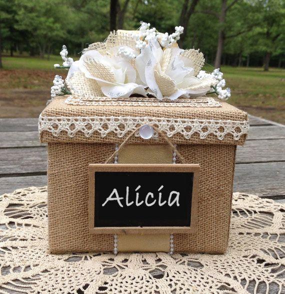 Wedding Gift Keepsakes : ... wedding card box, burlap wedding invitation, keepsake bridesmaid gift
