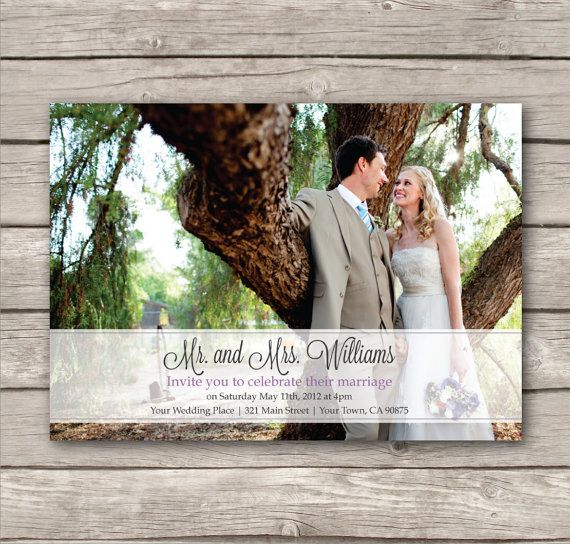 Picture Wedding Invitations. PDF. Modern design. print at home. just married. eloped on Etsy, $18.00