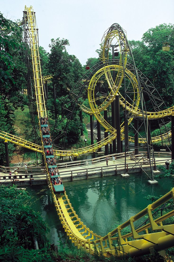 Loch Ness Monster. This interlocking, double-looping coaster stretches a monstrous 13 stories tall before racing those who challenge it down a 114-foot drop, with speeds as fast as 60 miles per hour.
