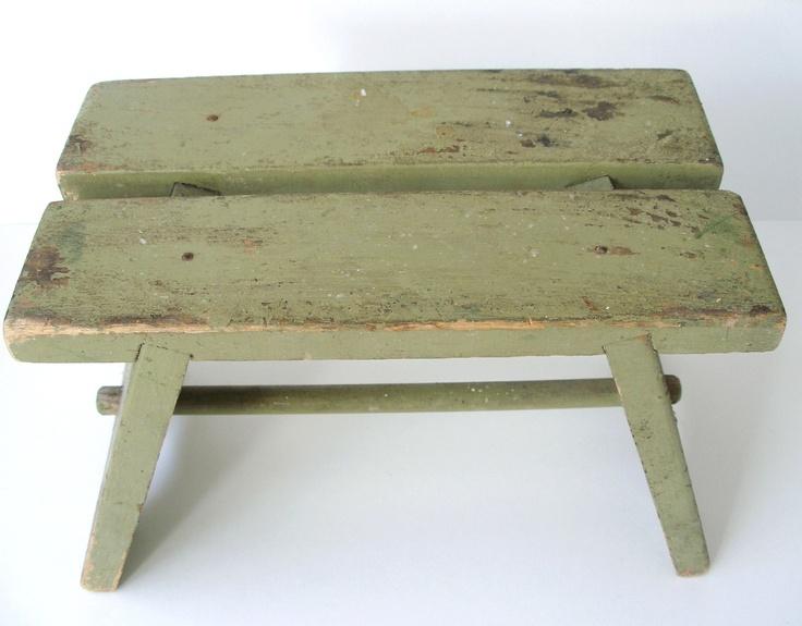 Antique Rustic Green Footstool Minimalist Home Decor