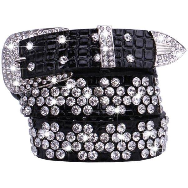 Women's Korean Fashion PU Black Waist Bling Belts at Amazon Women's... ($16) ❤ liked on Polyvore featuring accessories, belts, pu belt and polyurethane belt