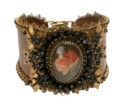 Michal Negrin Jewelry Roses Flowers In Black & Gold Crystal Bracelet