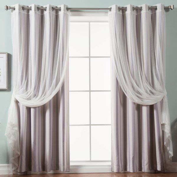 Baynton Striped Semi Sheer Thermal Grommet Curtain Panels