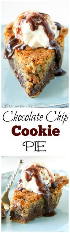 Chocolate Chip Pie - one of our favorite pies ever. Basically a chocolate chip cookie in a pie. So good! the-girl-who-ate-...: