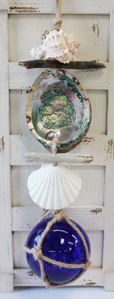 "Short Dark Blue 5"" Nautical Float Driftwood and Shell Garland - Handmade Shell Crafts - California Seashell Company"