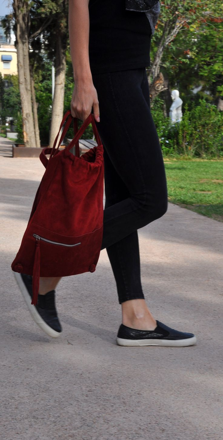 Red suede backpack, pouch! All you need for the NEW season!